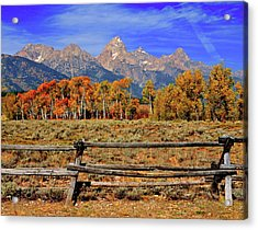A Moment In Wyoming In Autumn Acrylic Print by Jeff R Clow