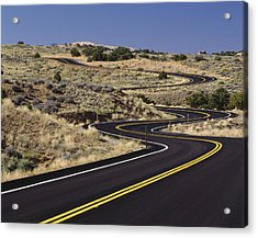 A Newly Paved Winding Road Up A Slight Acrylic Print by Greg Probst