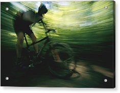 A Panned Shot Shows Someone Mountain Acrylic Print by Stephen Alvarez