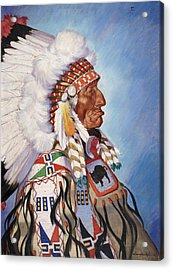 A Portrait Of 95-year Old Sioux Chief Acrylic Print by W. Langdon Kihn