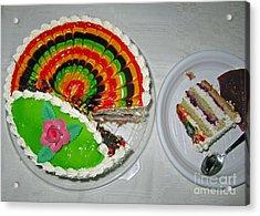 A Rainbow Cake- Yummy Acrylic Print by Ausra Huntington nee Paulauskaite