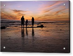 A Rear View Of A Family With One Child Acrylic Print by James Forte