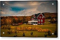 A Red Farmhouse In A Fallscape Acrylic Print by Chantal PhotoPix