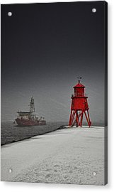 A Red Lighthouse Along The Coast In Acrylic Print by John Short