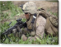 A Rifleman Provides Security Acrylic Print by Stocktrek Images