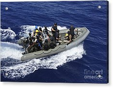 A Rigid-hull Inflatable Boat Carrying Acrylic Print by Stocktrek Images