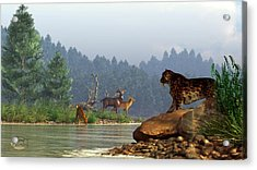 A Saber-tooth Hunting Deer Acrylic Print by Daniel Eskridge