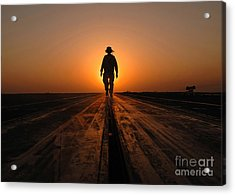 A Sailor Walks The Catapults Acrylic Print by Stocktrek Images