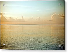 A Serene Landscape Of The Ocean And Sky At Sunrise Acrylic Print by Adam Hester