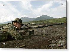 A Sniper Fires A M82a3 .50-caliber Acrylic Print by Stocktrek Images