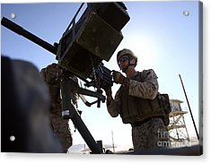 A Soldier Fires 40mm Rounds Acrylic Print by Stocktrek Images