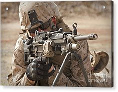 A Squad Automatic Weapon Gunner Acrylic Print by Stocktrek Images