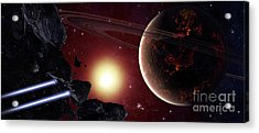 A Stealth Fighter En Route To Hades Acrylic Print by Frieso Hoevelkamp