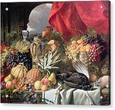 A Still Life Of Game Birds And Numerous Fruits Acrylic Print by William Duffield