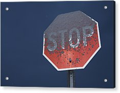 A Stop Sign Covered In Snow Acrylic Print by John Burcham