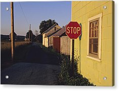 A Stop Sign In A Rural Alley Acrylic Print by Raymond Gehman
