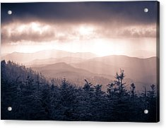 a Storm Over the Smokys Monotone Acrylic Print by Pixel Perfect by Michael Moore