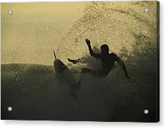 A Surfer Wipes Out On A Breaking Wave Acrylic Print by Tim Laman