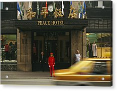 A Taxi Drives Past Shanghais Famous Acrylic Print by Justin Guariglia