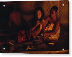 A Topless Tahitian Dancer Is Annointed Acrylic Print by Gordon Gahan
