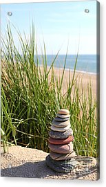 A Tower Of Stones On The Dune Acrylic Print by Holger Ostwald