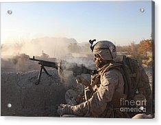 A U.s. Marine Provides Support By Fire Acrylic Print by Stocktrek Images