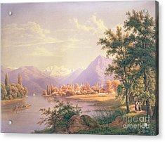 A View Of Scherzingen On The Lake Of Thun Acrylic Print by Jakob Suter