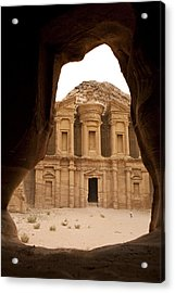 A View Of The Monastary In Petra Acrylic Print by Taylor S. Kennedy