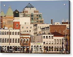A View Of The Skyline Of Victoria Acrylic Print by Taylor S. Kennedy