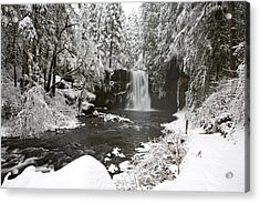 A Waterfall In To A River In Winter Acrylic Print by Craig Tuttle