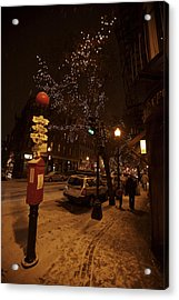 A Winter Evening In Bostons North End Acrylic Print by Tim Laman