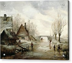 A Winter Landscape With Figures Skating Acrylic Print by Dutch School