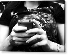 A Woman And Her Phone Acrylic Print by Ricky Barnard
