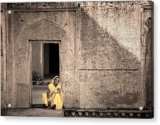 A Woman In Yellow Dress Acrylic Print by Mostafa Moftah