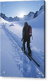 A Woman Skiing In The Selkirk Acrylic Print by Jimmy Chin