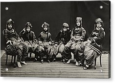 A Young Group Of Well Dressed Nepali Acrylic Print by John-Claude White