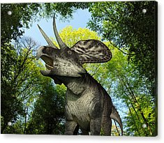 A Zuniceratops Wanders A Cretaceous Acrylic Print by Walter Myers