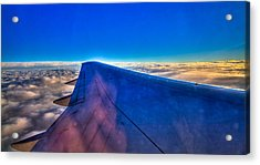 Above The Clouds On A 757 Acrylic Print by David Patterson