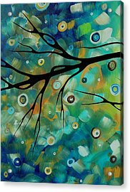 Abstract Art Original Landscape Painting Colorful Circles Morning Blues II By Madart Acrylic Print by Megan Duncanson