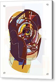 Abstract Artwork Of A Person's Face Acrylic Print by Paul Brown