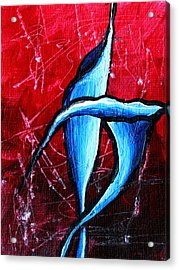 Abstract Calla Lilly Textured Painting Greeting Lillies By Madart Acrylic Print by Megan Duncanson