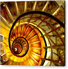 Abstract Golden Nautilus Spiral Staircase Acrylic Print by Elaine Plesser