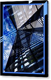 Abstract In Blue And Cement Acrylic Print by Matthew Green