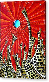 Abstract Surreal Art Original Cityscape Painting The Eternal City By Madart Acrylic Print by Megan Duncanson