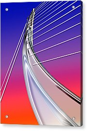 Abstract Wired Steel Arc On Rainbow Neon Acrylic Print by Elaine Plesser