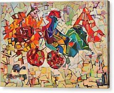 Abstract With Rooster Acrylic Print by Liubov Meshulam Lemkovitch