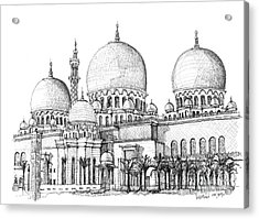 Abu Dhabi Masjid In Ink  Acrylic Print by Adendorff Design