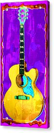 Acoustic Guitar Abstract Acrylic Print by David G Paul