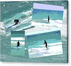 Action Surfing Print Acrylic Print by ArtyZen Kids