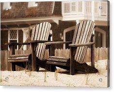 Adirondack Chairs On The Beach - Jersey Shore Acrylic Print by Angie Tirado